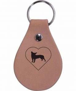 Personalized Engraved Chihuahua Heart Genuine Custom Leather 3-inch Customizable Keychain