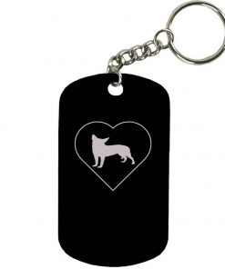 Personalized Engraved Custom Chihuahua Heart 2-inch Colored Anodized Aluminum Customizable Keychain Dog Tag, Black
