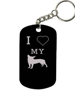 Personalized Engraved Custom I Love My Chihuahua 2-inch Colored Anodized Aluminum Customizable Keychain Dog Tag, Black