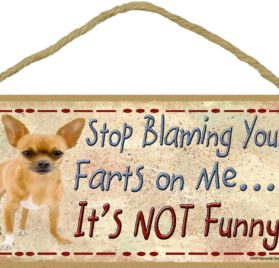 "Tan Chihuahua Stop Blaming Your Farts On Me It's Not Funny Dog Sign Plaque 5""x10"""