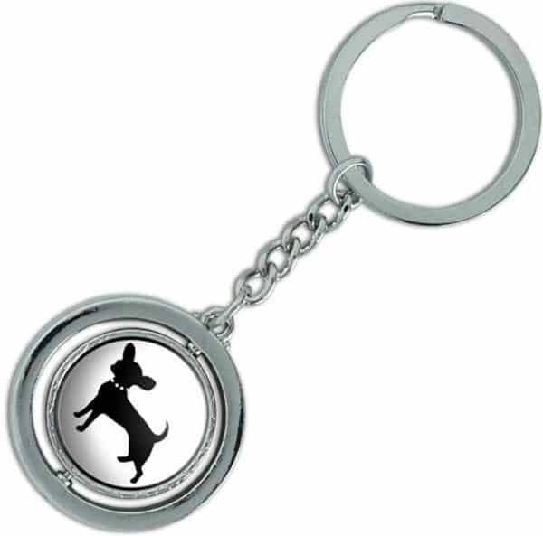 "Unique & Custom 1 Single Medium Size ""Split"" Circle Keychain Ring Made of Chrome w Fancy Modern Domestic House Pet Chihuahua Dog"