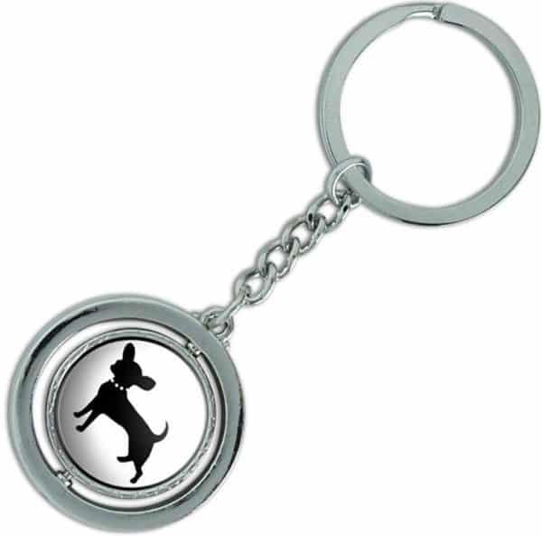 "Unique & Custom 1 Single Medium Size ""Split"" Circle Keychain Ring Made of Chrome w Fancy Modern Domestic House Pet Chihuahua Dog"