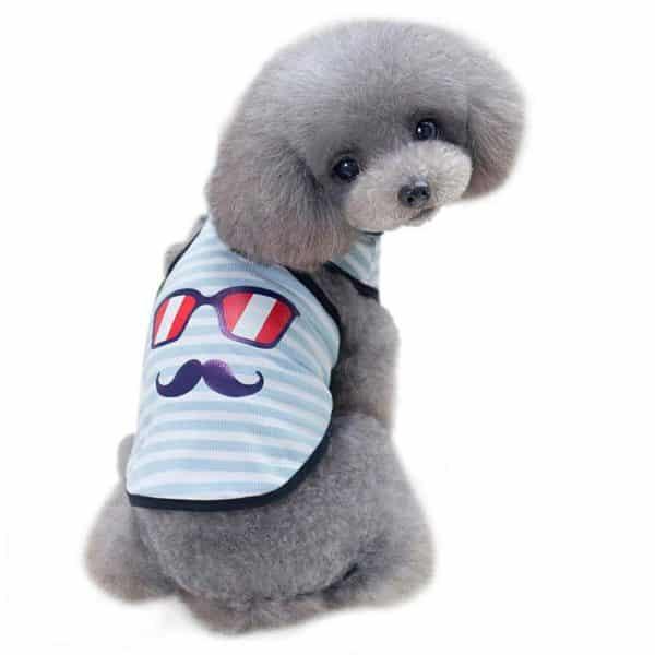 WEUIE Clearance Sale! Puppy Clothes Small Dog Vest Pet Dog Glasses Beard Vest Dog Cat Cute Summer Clothes (S, Sky Blue)