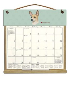 Wooden Refillable Dog Calendar Holder filled with 2018, 2019 and an order form for 2020-CHIHUAHUA