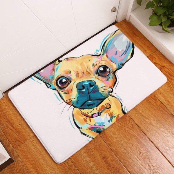 "YJBear Thin Brown Chihuahua Pattern Floor Mat Coral Fleece Home Decor Carpet Indoor Rectangle Doormat Kitchen Floor Runner 16"" X 24"""