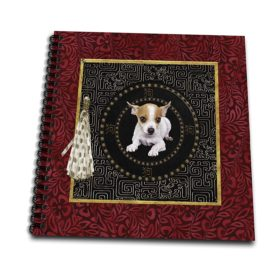 3dRose Beverly Turner Chinese New Year Design - Chihuahua, Round Shape, Sign of Dog in Chinese, Tassel with Dots - Memory Book 12 x 12 inch (db_272658_2)