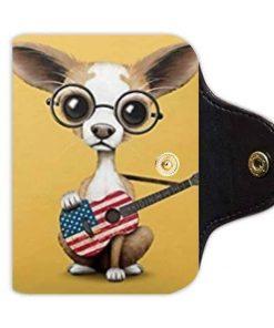 Bernie Gresham Chihuahua Puppy Dog-Custom Leather Card Holder
