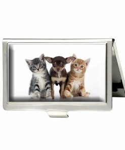 RUNDO Chihuahua Puppy and Kittens Custom Personalized Stainless Steel Business Box Name Case Holder Identity Card Wallet (Silver)