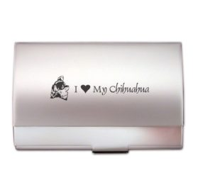 Two-Tone Business Card Holder-I love my Chihuahua-Silver