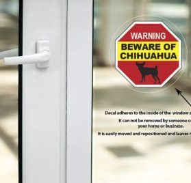 Beware of Chihuahua Sign - Inside Window Vinyl Static Cling Decal - Easy to Remove and Reposition - Approx. 5 x 5 in 2