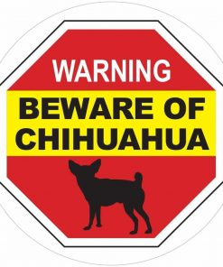 Beware of Chihuahua Sign - Inside Window Vinyl Static Cling Decal - Easy to Remove and Reposition - Approx. 5 x 5 in