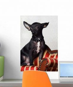 Wallmonkeys Black Chihuahua Perking His Ears Wall Decal Peel and Stick Graphic WM351080 (18 in H x 12 in W)
