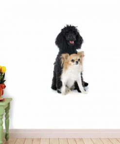 Wallmonkeys Puppy Poodle and Chihuahua Wall Decal Peel and Stick Graphic WM116662 (30 in H x 21 in W) 2