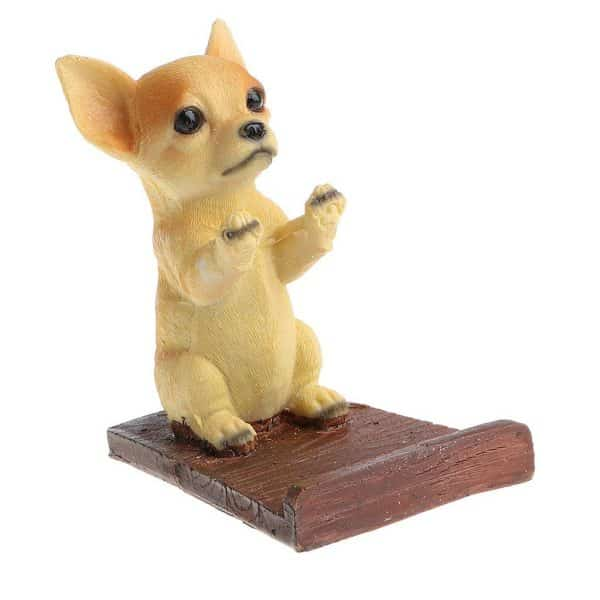 Baoblaze Cute Resin Cell Phone Stand Holder Chihuahua dog Puppy Pads Tablet Bracket Toy Animal Pet Model Statue Home Ornament Decor Xmas Gift