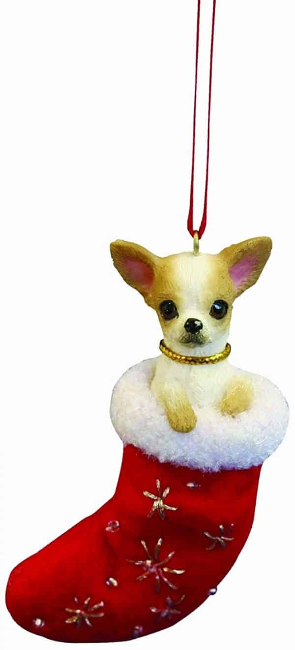 """Chihuahua Christmas Stocking Ornament with """"Santa's Little Pals"""" Hand Painted and Stitched Detail"""