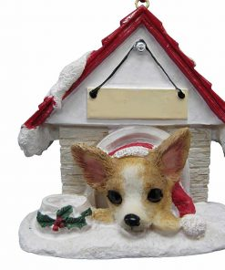 "Chihuahua Tan and White Ornament A Great Gift For Chihuahua Owners Hand Painted and Easily Personalized ""Doghouse Ornament"" With Magnetic Back"
