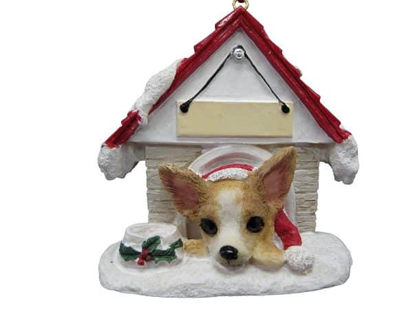 """Chihuahua Tan and White Ornament A Great Gift For Chihuahua Owners Hand Painted and Easily Personalized """"Doghouse Ornament"""" With Magnetic Back"""