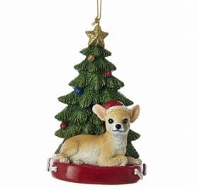 Chihuahua With Tree and Lights Ornament