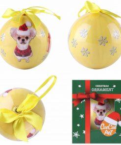 Cue Cue Pet Festive Ready to Hang Christmas Keepsake Miniature Chihuahua Ornament Shatterproof Ball 2