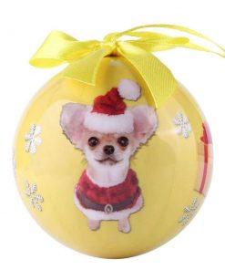 Cue Cue Pet Festive Ready to Hang Christmas Keepsake Miniature Chihuahua Ornament Shatterproof Ball