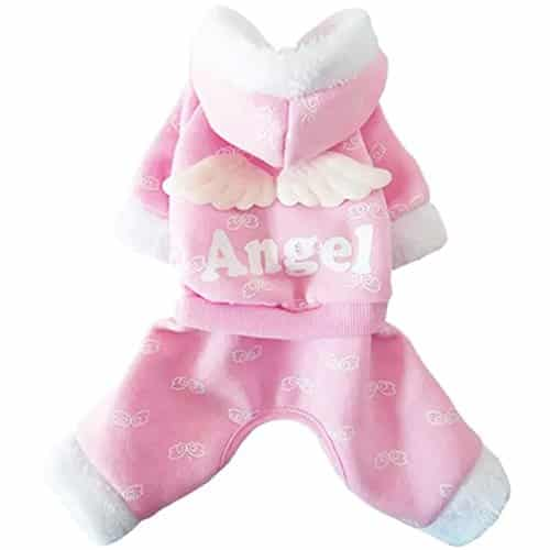 Dogloveit Sweet Fleece Angel Hoodie Jumpsuit Jacket Soft Dog Winter Clothes For Dog Cat Puppy Pet, Pink, X-Small