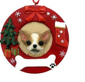 E&S Pets Tan Chihuahua Personalized Christmas Ornament