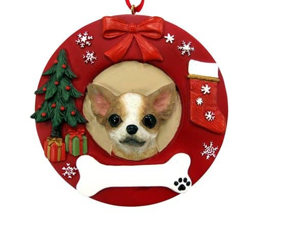 E&S Pets Tan Chihuahua Personalized Christmas Ornament