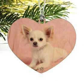 GRAPHICS & MORE Chihuahua Puppy Dog Sitting in Pink Heart Love Wood Christmas Tree Holiday Ornament 2