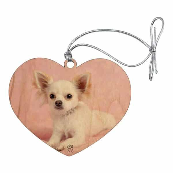GRAPHICS & MORE Chihuahua Puppy Dog Sitting in Pink Heart Love Wood Christmas Tree Holiday Ornament