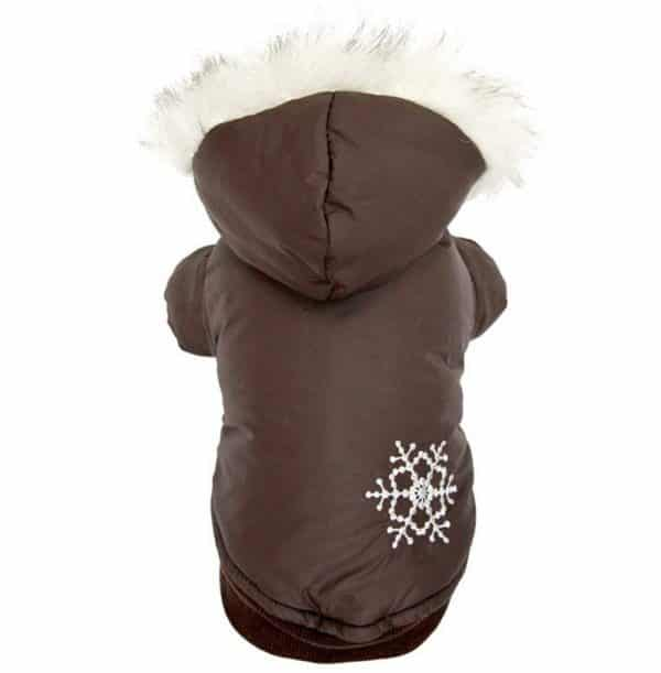 PETLOVE Reversible Small Dog Winter Coat Snowflake Jacket Removable Hood Puppy Pet Clothes Windproof Brown XS