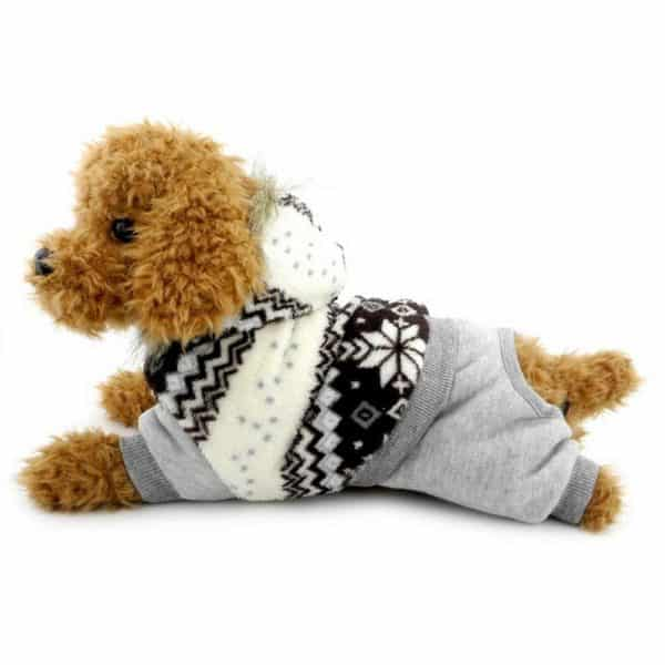 SELMAI Snowflake Hooded Velvet Small Dog Cat Jumpsuit Fleece Warm Winter Pet Puppy Snowsuit Windproof Outfits Clothes Apparel Brown S