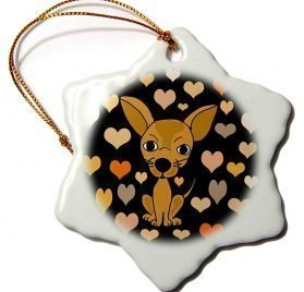 3dRose All Smiles Art - Pets - Funny Cute Chihuahua Dog and Heart Love Pattern Abstract - 3 inch Snowflake Porcelain Ornament (ORN_295212_1)