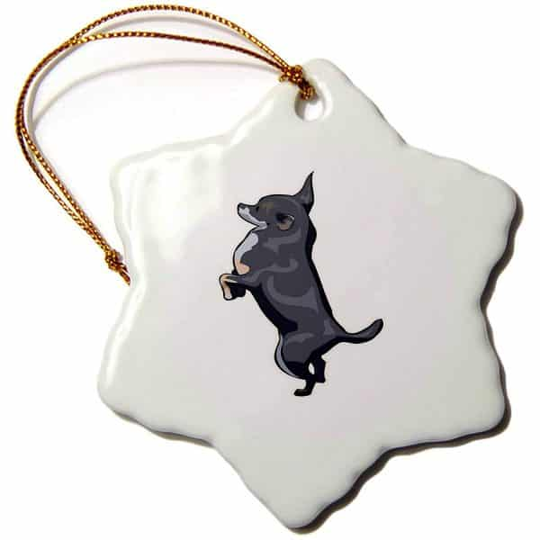 """3dRose"""" Cute and Cuddly Canine Black Chihuahua Snowflake Ornament, 3"""""""