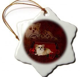 3dRose Heike Köhnen Design Animal - Cute little chihuahua with roses - 3 inch Snowflake Porcelain Ornament (orn_287324_1)
