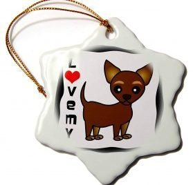 3dRose Janna Salak Designs Dogs - I Love My Chihuahua Chocolate Tan - 3 inch Snowflake Porcelain Ornament (orn_12075_1)