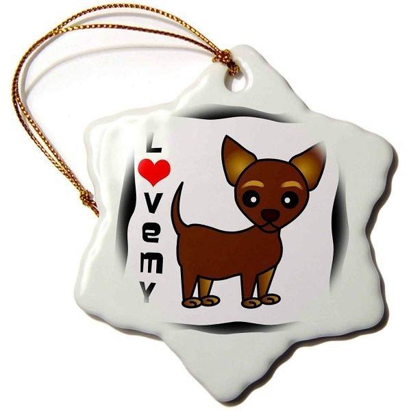 3dRose Janna Salak Designs Dogs - I Love My Chihuahua Chocolate Tan - 3 inch Snowflake Porcelain Ornament (orn_12075_1)