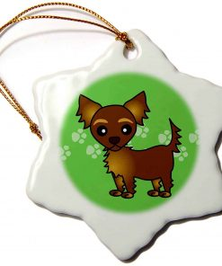 3dRose orn_28472_1 Cute Chocolate Brown Longhaired Chihuahua Green with Pawprints-Snowflake Ornament, 3-Inch, Porcelain