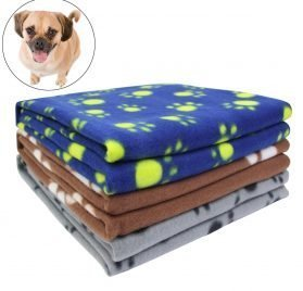 AK KYC 3 Pack 40 x 28 '' Puppy Blanket Cushion Dog Cat Fleece Blankets Pet Sleep Mat Pad Bed Cover with Paw Print Kitten Soft Warm Blanket for Animals