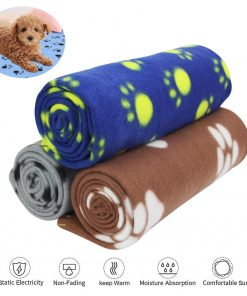 AK KYC 3 Pack 40 x 28 '' Puppy Blanket Cushion Dog Cat Fleece Blankets Pet Sleep Mat Pad Bed Cover with Paw Print Kitten Soft Warm Blanket for Animals 2