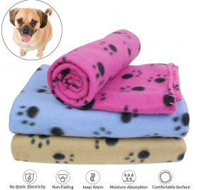 "AK KYC 3 Pack 40"" x 28"" Puppy Blanket Cushion Dog Cat Fleece Blankets Pet Sleep Mat Pad Bed Cover with Paw Print Kitten Soft Warm Blanket for Animals 2"