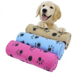 "AK KYC 3 Pack 40"" x 28"" Puppy Blanket Cushion Dog Cat Fleece Blankets Pet Sleep Mat Pad Bed Cover with Paw Print Kitten Soft Warm Blanket for Animals"