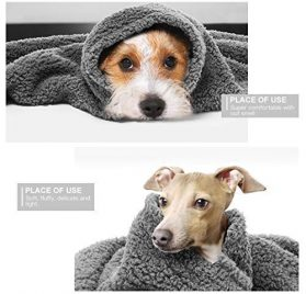 ATLES 2-Pack Premium Fluffy Fleece Dog Blanket, Soft and Warm Gray Pet Throw Blanket Washable for Dogs and Cats 2