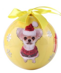 Animal Friends Christmas Holiday Tree Ornament Shatter Proof Ball with Box (Chihuahua)