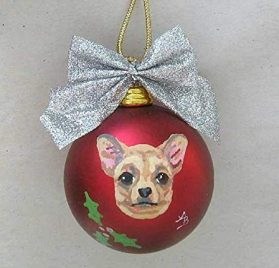 "Artist Painted CHIHUAHUA Shatter Proof 2 1 2"" Round Ball Xmas Ornament 2"