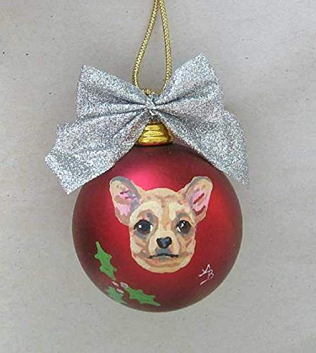 """Artist Painted CHIHUAHUA Shatter Proof 2 1 2"""" Round Ball Xmas Ornament 2"""