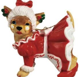 Aye Chihuahua Westland Giftware Mrs Claus Chihuahua Ornament