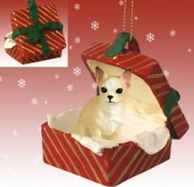 CHIHUAHUA Dog TAN sits in a Red Gift Box Christmas Ornament New RGBD06B