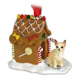 CHIHUAHUA Dog Tan NEW Resin GINGERBREAD HOUSE Christmas Ornament 06B