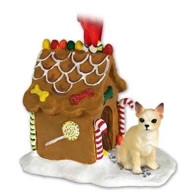 CHIHUAHUA Dog Tan NEW Resin GINGERBREAD HOUSE Christmas Ornament 06B