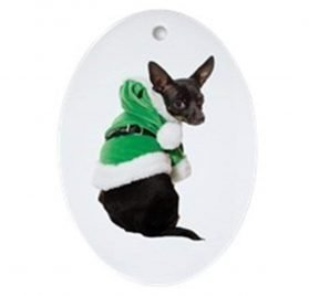 CafePress Santa Chihuahua Ornament (Oval) Oval Holiday Christmas Ornament